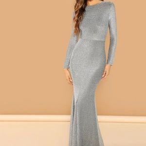 Dresses & Skirts - Silver Open Back Slit Glitter Mermaid Dress